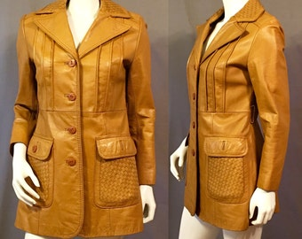 1970s Tan Camel Leather Jacket | Small/ Medium