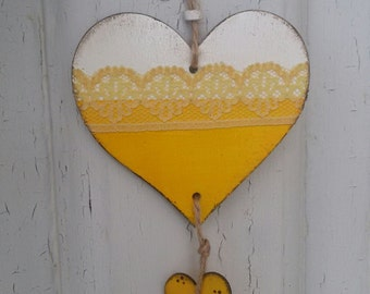 Wooden hearts to hang, white and yellow, with lace ribbon, handpainted. Cottage chic, country chic. OOAK