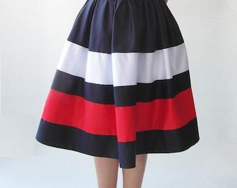 Nautical dress, dress, dress, dress strips 50 years tea length, rockabilly, knee-length dress, blue dress, summer dress, peter pan collar