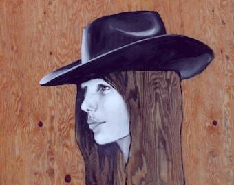 Cowgirl  ++ Original Acrylic on Wood