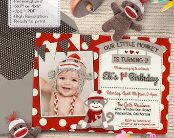 Cute Sock Monkey Birthday Party Photo invitations Red Sock Monkey DIY printable Birthday invite