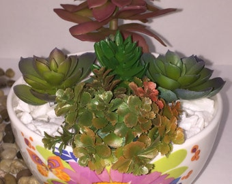 SALE - 50% OFF Faux Succulent Planter, Desk Accessory, Succulent Garden, Artificial Succulent Arrangement, Indoor Planter