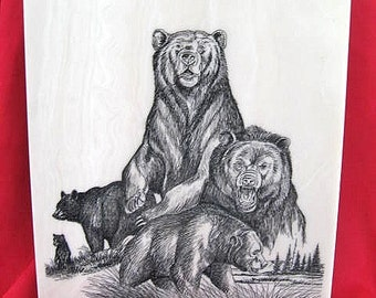 Oregon Bears Marble Etching by Montana Artist Jim Borgreen