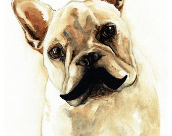 French Bulldog with Moustache - Coffee Art Print