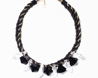 Black crystal rope necklace