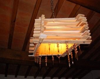 """wooden ceiling lamp """"Grostol"""", hanging lamp, pendant lighting"""