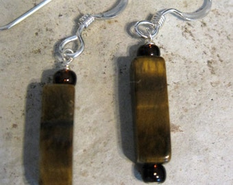 Tiger's eye and glass bead earrings