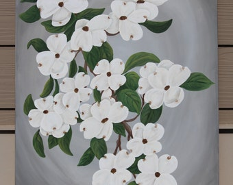 Dogwood Blossoms on Gray : Original Acrylic Painting on Stretched Canvas, 22x28 inches