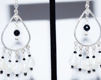 Corundum Teardrop, Black Spinel and Sterling Silver Earrings