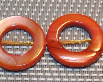 5 Handmade Shell Beads, Spray Painted, Orange, Ring, 20mm