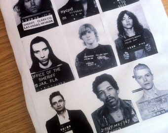 The Original Rockstar Mugshot T-Shirt - Axl Rose / Jimi Hendrix / Johnny Cash / Marilyn Manson / Kurt Cobain / Jim Morrison / Johnny Cash