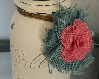 Shabby Chic White Mason Jar