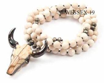 Buffalo Skull Necklace | Cattle Skull Necklace | Neutral Necklace | Boho Necklace | Rustic Necklace | Fossil Stone Necklace