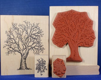 Rubber stamp tree with foliage bare tree fall tree scrapbooking stamping Sarasota Stamps