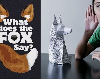 Download print on A4 What does the fox say   Fox Sculpture   Papercraft   Paper Origami   Paper folding     ori kami   kirigami    A4 print