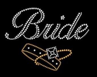 Tee,Rhinestone Bride Shirt, Rhinestone Bride Tee,Bride Gifts, Bachelorette Party,Rhinestone T,Bridal Party Gifts, Bridal Bling, Bride Tshirt