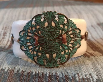 Turquoise White Leather Cuff