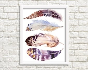 printable women gift Feather print, printable art, feather Art, boho wall art, Feather Printable, tribal wall art, feather nursery