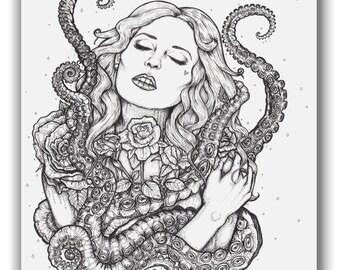 Mother of Krakens Tentacle A4 Illustration Print