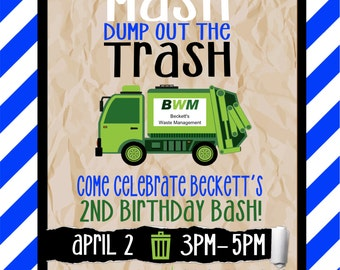 printable garbage truck birthday party invitation