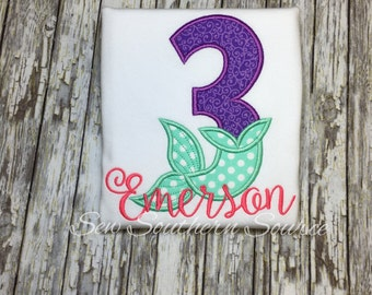 Personalized 3rd Birthday Shirt - Appliqued Mermaid Birthday Shirt - Birthday Number Shirt