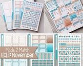 NOVEMBER Planner Sticker Kit, Made 2 Match Erin Condren Life Planner, ECLP Stickers Tan/Teal - 3 Sheets, 174 Stickers!