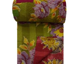 Reversible Floral Print Cotton Gudri, Vintage Kantha Stitched Bedspread, Unique Twin Size Home Decor Art