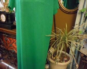 1940 Green short sleeve Rayon jersey Knee length summer dress