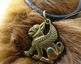 Gryphon pendant, Gryphon jewelry, Fantasy pendant, Fantasy necklace, Pagan jewelry. Replica, Griffin Pendant, medieval, Griffon