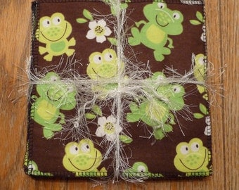 Cloth Wipes, Cloth Diaper Wipes, Cloth Baby Wipes, Baby Washcloth, Reusable Wipes, Set of 12, Turtle, Hedgehog, Frog, Monkey
