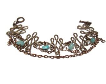 Light blue jade bracelet / Gift for her / Gypsy bracelet / Dangle bracelet / Vintage style bracelet / Boho bracelet / Tribal bracelet /