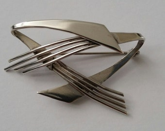 Vintage Abstract Silver Brooch by Thomas Lynton Mott