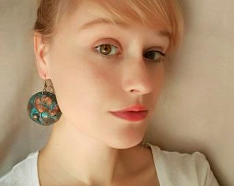 Iron Flowers Rustic earrings Blue patina earrings Boho Earrings ethnic earrings bohemian earrings Blue Earrings Copper Patina JuliaKuro