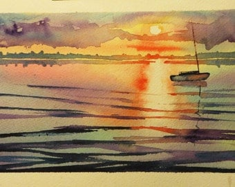 Original Watercolor -  sunset over the bay