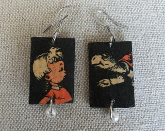 Vintage Portuguese Cartoon Earrings