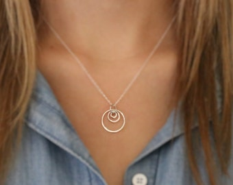 Three Circle Necklace - Sterling Silver Circle Necklace - Round Circle Necklace - Layered Circle Necklace - Open Circle - Circle Pendant