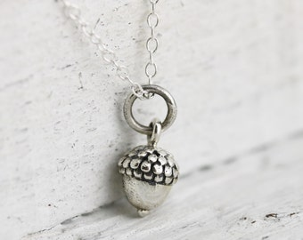 Acorn Necklace - Solid Sterling Silver Tiny Acorn Necklace - Acorn Pendant - Small Acorn Necklace - Acorn Jewelry - Nature Jewelry - Autumn