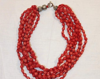 Red bead necklace/hand made