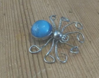 Vintage Blue and Silver Coloured Metal Spider Brooch