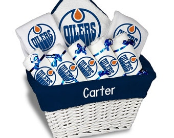 Personalized Edmonton Oilers Baby Gift Basket - 2 Bibs, 5 Burp Cloths, Towel Set - Large