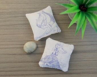 Dollshouse cushion / Mermaid print cushion / Miniature cushions / 1:12 scale cushion / modern miniature furniture