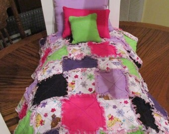 """4 Pc. Princess Patchwork Raq Quilt Bedding for 18"""" Doll"""