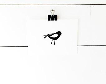 Kids Room Art, Bird Print, Black and White Nursery Prints, Scandinavian Art, Minimal Art, Linocut Print, Lino Print, Bird Art, Nursery Art