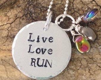 Collier Pendentif Gravé Message Personnalisé, Live Love Run, Collier Course