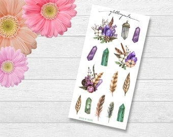 Gemstone Crystal Feather Planner Stickers