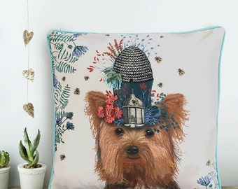 Yorkie Dog gift Yorkshire terrier pillow Yorkie cushion Yorkshire terrier cushion Yorkie pillow Milliners dog Yorkshire terrier dog pillow