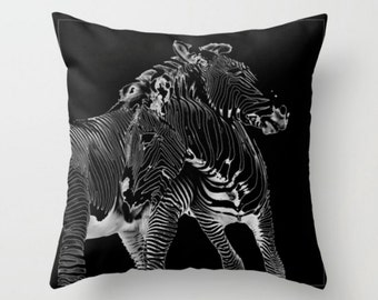Black and White Zebra Pillow Cover, Throw Pillow Black Pillow Minimalist Home Decor, Animal Photography Unusual Pillow Modern Decor Fine Art