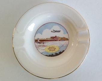 Mid-Century Ceramic Souvenir Ashtray Greater Pittsburgh Airport