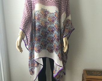 Floral kaftan silver beaded loose flowing oversized top kimono sleeves boho hippie reworked  plus size lagenlook cover up width 104""