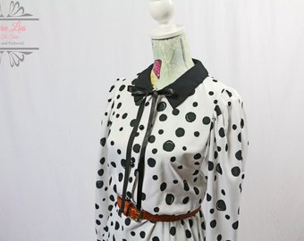 Vintage Black White Spotted Shirt Dress Size M